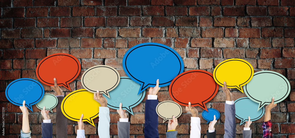 Fototapety, obrazy: Diverse Hands Holding Colorful Speech Bubbles