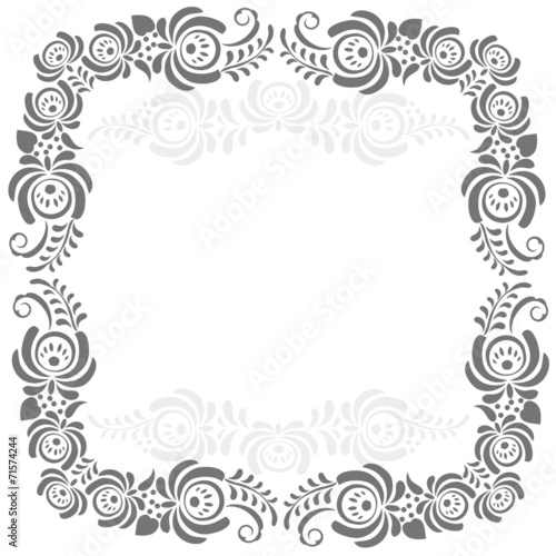 Fotografija  Russian ornaments art frame in gzhel style
