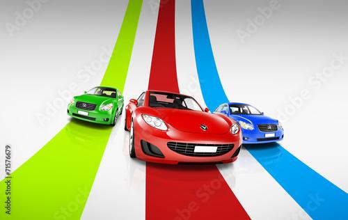 obraz-3d-kolorowych-samochodow-na-torze