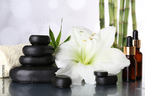 Fototapety, obrazy: Spa composition with orchid and spa stones