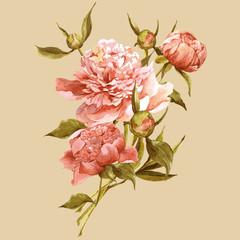 Fototapeta Współczesny Pink watercolor peonies vintage greeting card