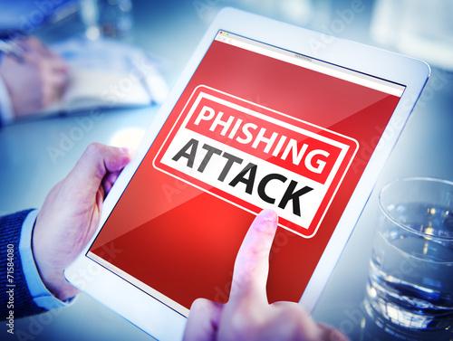 Fotografía  Hands Holding Digital Tablet Phishing Attack