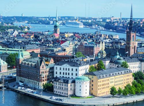 In de dag Noord Europa Stockholm, Sweden. Aerial view of the Old Town (Gamla Stan).