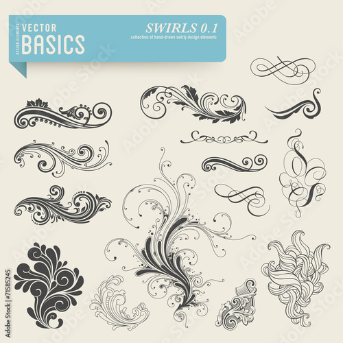 Fotografie, Obraz  vector basics: swirls and flourishes