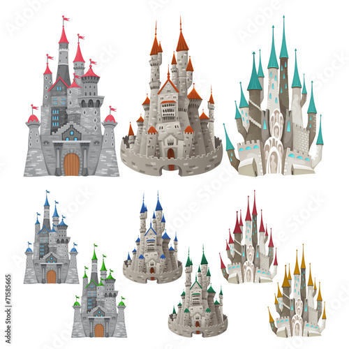 Poster Chambre d enfant Set of medieval castles in different colors.