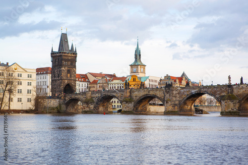 Papiers peints Paris Panorama on Charles Bridge in Prague in the eveining