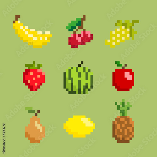 Pixel Art Fruit And Berries Icon Set Buy This Stock Vector And Explore Similar Vectors At Adobe Stock Adobe Stock