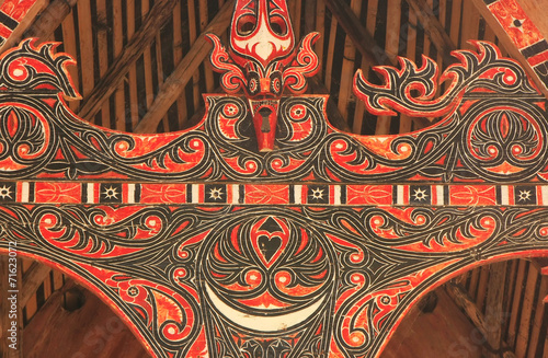 Traditional decoration of Batak house on Samosir island, Sumatra Canvas Print