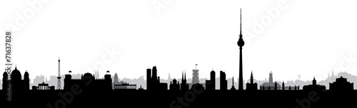 Photo Berlin, Hauptstadt, Panorama, Silhouette, Stadt, Banner, Design