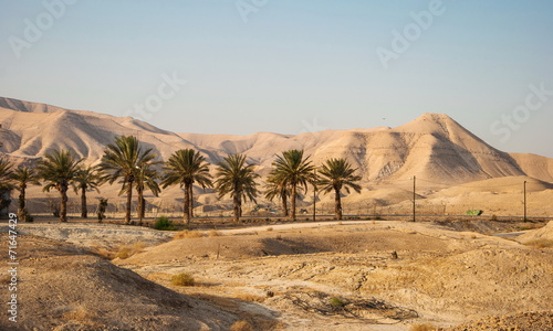 Fotobehang Midden Oosten Landscape with Judean Mountains and Judean desert in Israel