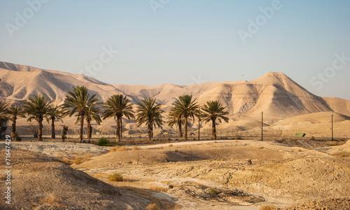 Poster Midden Oosten Landscape with Judean Mountains and Judean desert in Israel