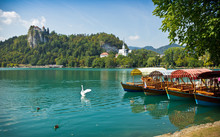 Boats On Lake Bled Horizontal ...