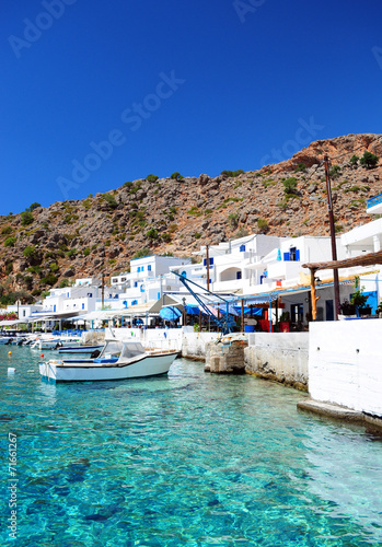 Photo  Greek coastline village of Loutro in southern Crete
