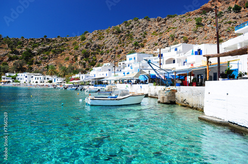 Greek coastline village of Loutro in southern Crete Poster