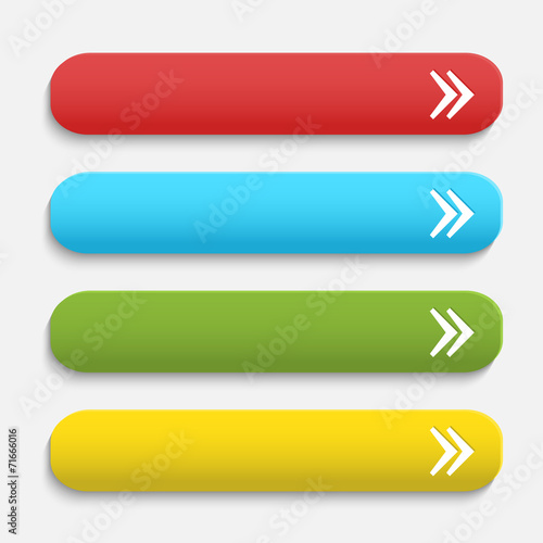 Foto  Vector realistische verfilzte Farbe Web-Tasten mit Pfeilsymbol i