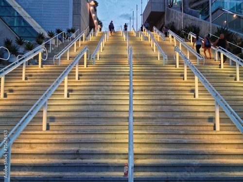 Fotografia, Obraz  Outdoor Stairs lit up at night, San Diego Convention Center