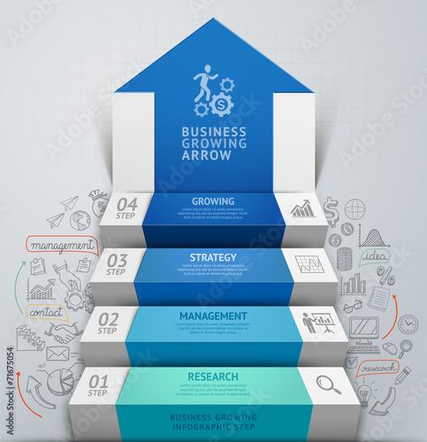 Fotografía  3d business arrow step staircase infographics. Vector