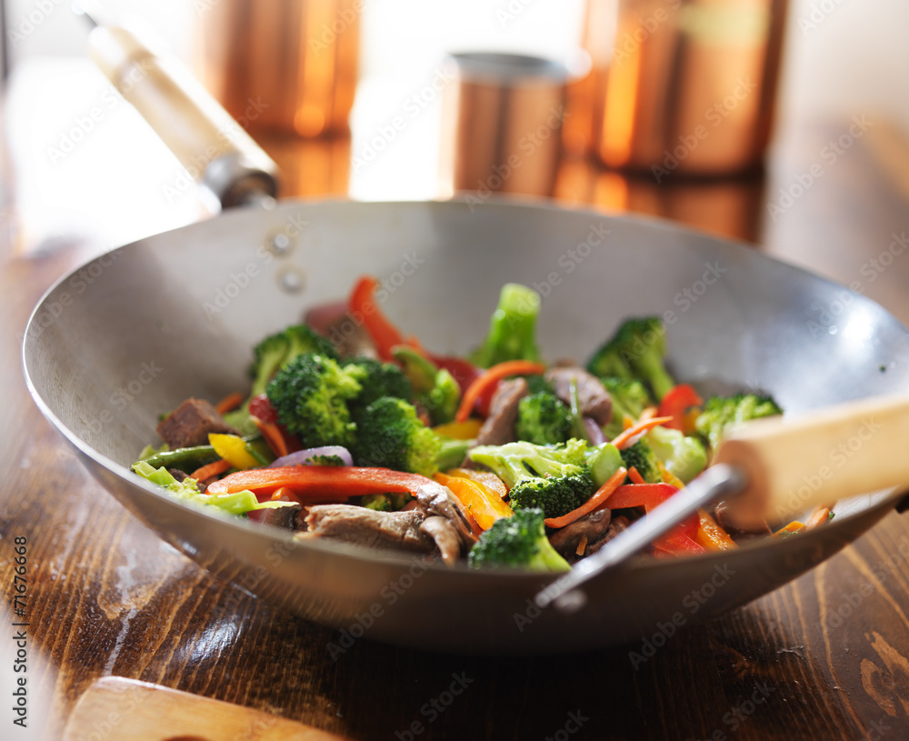 asian wok with beef and vegetable stir fry Canvas Print