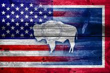 USA And Wyoming State Flag Pai...