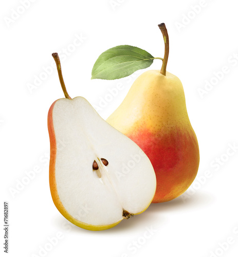 Obraz na płótnie Yellow pear and half split isolated on white background