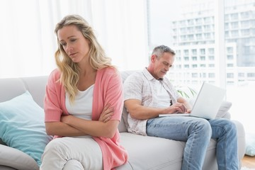 Unhappy couple are stern and having troubles