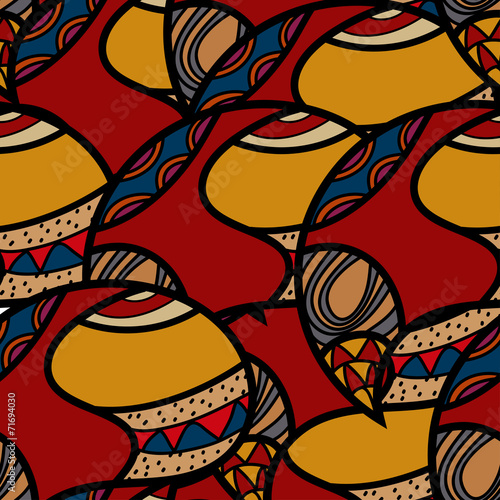 African ethnic Seamless colorful pattern. Vector illustration. Wallpaper Mural