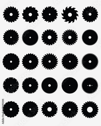 Fotografía  Set of different circular saw blades, vector