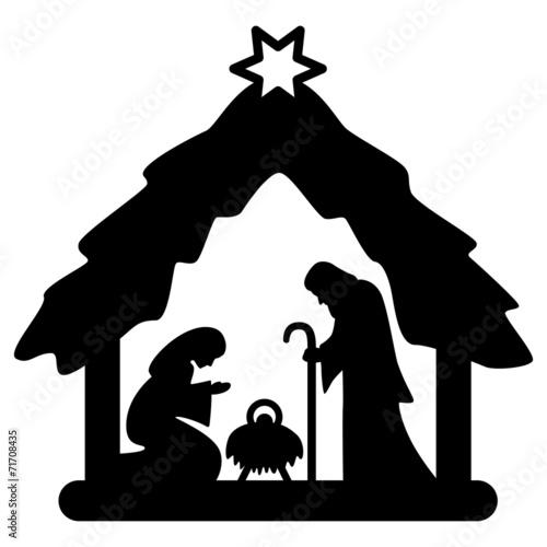 Fotografie, Obraz  Weihnachtskrippe, Krippenfiguren, schwarz, freigestellt, Vektor