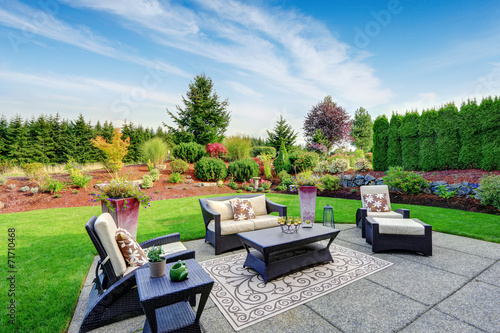 Fotografia Impressive backyard landscape design with patio area