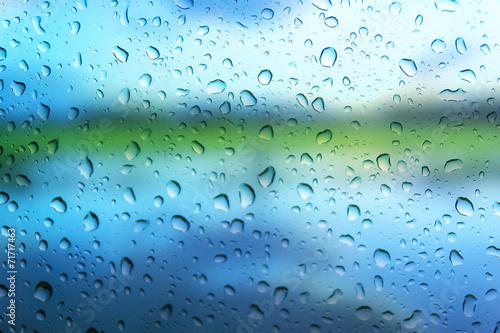 Poster Waterlelies Drop water on glass