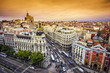 Madrid, Spain Cityscape on Gran Via Shopping Street