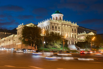 Fototapeta na wymiar Night view of Pashkov House in Moscow, Russia