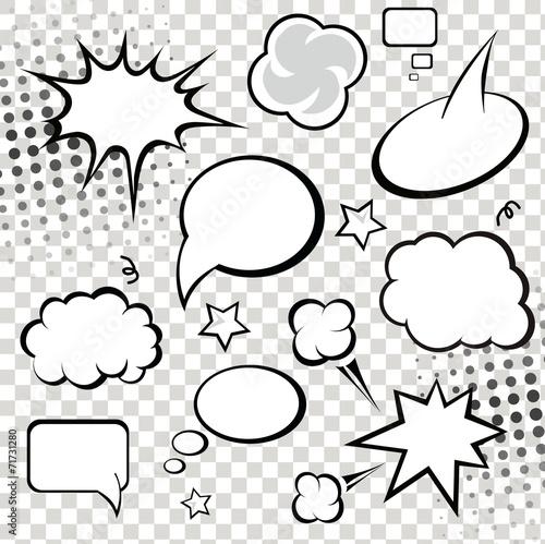 Photo  Comic speech bubbles and comic strip on monochrome  background