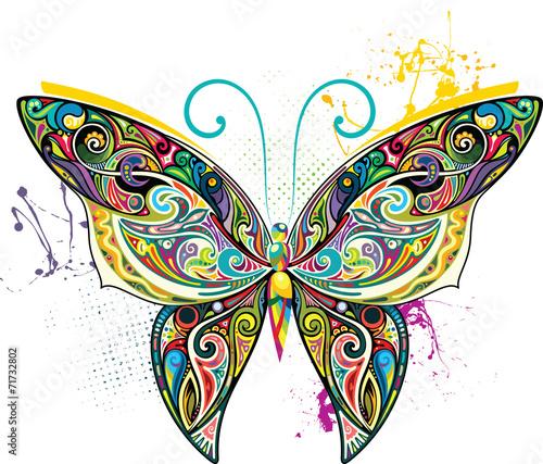 Deurstickers Vlinders in Grunge Openwork butterfly