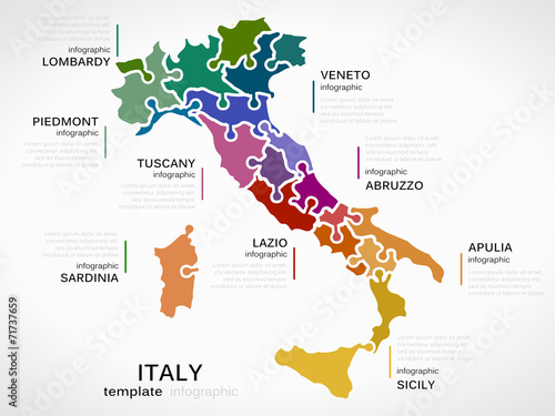 Map of Italy Slika na platnu