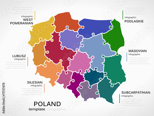 Map of Poland Fototapet