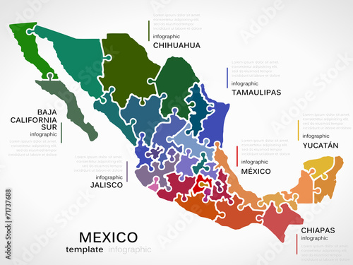 Map of Mexico Canvas Print