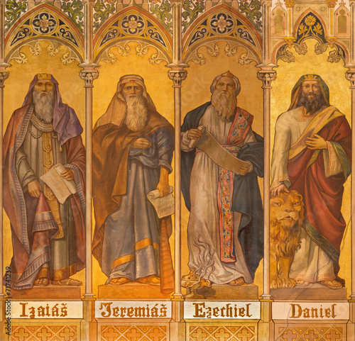 Photo  Trnava - fresco of prophets Isaiah, Jeremiah, Ezekiel, Daniel