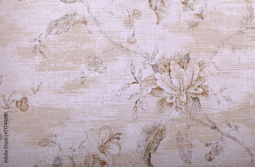 Stickers pour portes Fleurs Vintage vintage beige wallpaper with shabby chic floral pattern