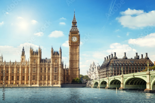 Big Ben in sunny day, London Canvas Print