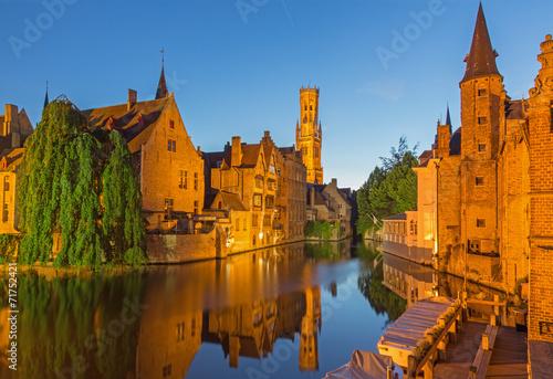 Deurstickers Brugge Bruges - View from the Rozenhoedkaai.