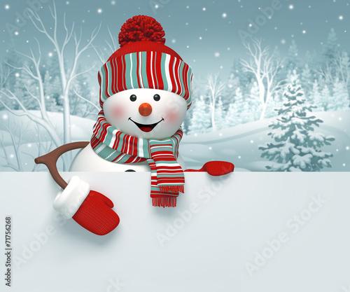Fotografie, Obraz  3d snowman, Christmas banner, winter background
