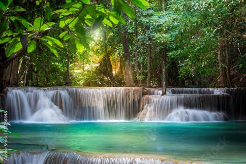 Türaufkleber Wasserfalle Thailand waterfall in Kanchanaburi (Huay Mae Kamin)