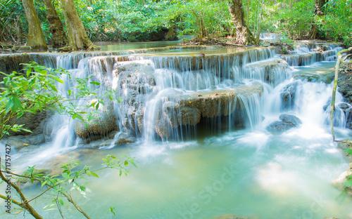 Wall Murals Waterfalls Deep forest waterfall at National Park Kanjanaburi, Thailand