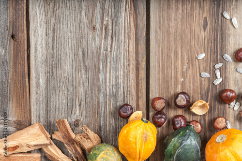 Fototapeta Autumn fruits on table obraz na płótnie