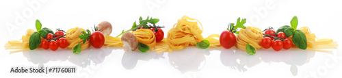 Fototapeta Italian ingredients for a pasta dish banner obraz