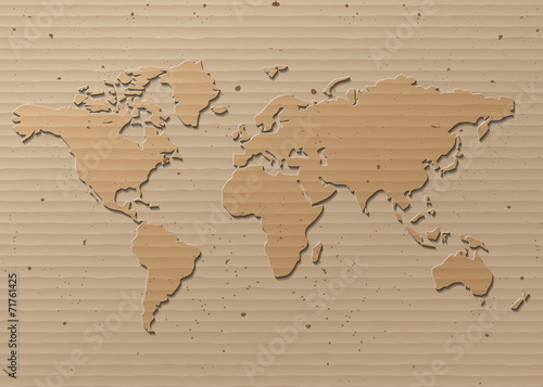 Foto op Aluminium vector World map Brown Cardboard