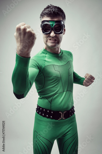 Funny superhero fighting Lerretsbilde