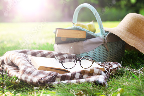 Reading books, outdoors