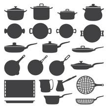 Vector Dark Grey Cookware Silh...